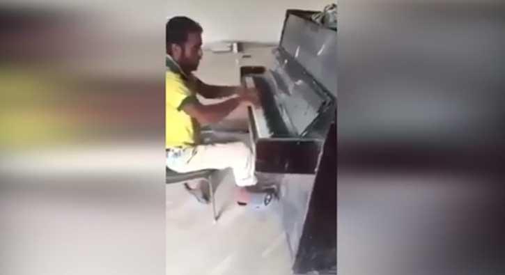 İnşaat işçisinden piyano resitali