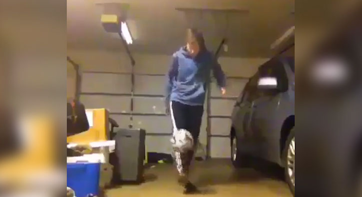 Garajda akrobasi yapmaya çalışınca...